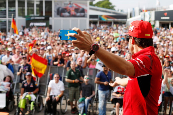 Hockenheimring, Hockenheim, Germany. Saturday 19 July 2014. Fernando Alonso, Ferrari, takes a picture of himself with the crowd. World Copyright: Charles Coates/LAT Photographic. ref: Digital Image _J5R4482