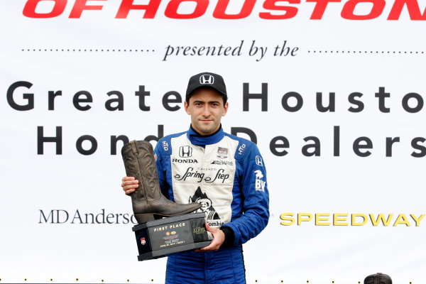 27-29 June, 2014, Houston, Texas USA Carlos Huertas celebrates on the podium ©2014, Phillip Abbott LAT Photo USA