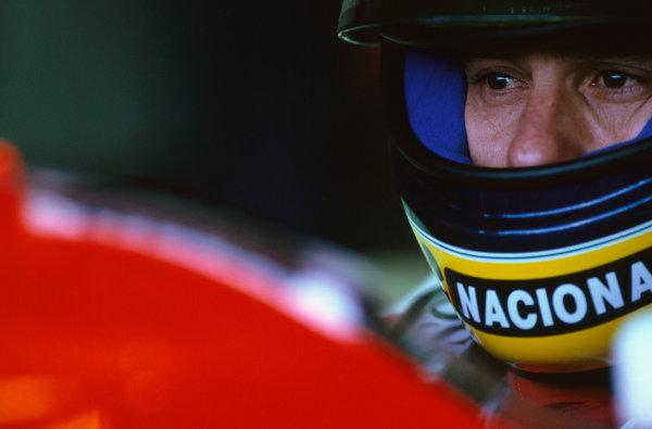 1993 British Grand Prix.  Silverstone, England. 9th - 11th July 1993.  Ayrton Senna (McLaren MP4/8 Ford) 1st position.  Ref: 93GB32. World Copyright: Peter J Fox/LAT Photographic