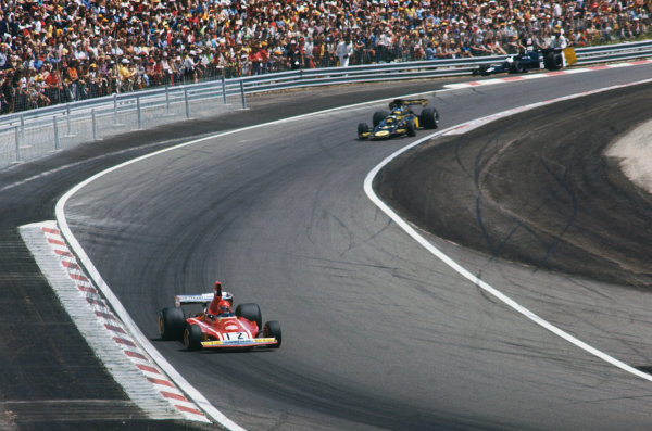 1974 French Grand Prix  Dijon-Prenois, France. 5-7th July 1974.  Niki Lauda, Ferrari 312B3, 2nd position, leads Ronnie Peterson, Lotus 72E Ford, 1st position.  Ref: 74FRA07. World Copyright: LAT Photographic