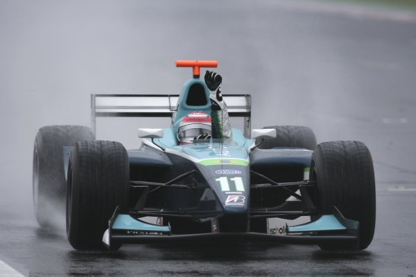 2006 GP2 Series Round 9. Hungaroring, Budapest, Hungary. 6th August 2006. Sunday race.Nelson Piquet Jr. (BRA, Piquet Sports) crosses the line to win the race. Action. World Copyright: Charles Coates/GP2 Series Media Service. Ref: Digital Image Only.ZK5Y4370 jpg