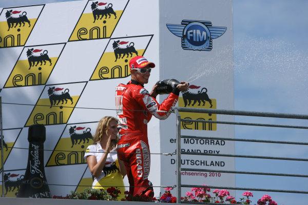 Germany Sachsenring 16-18 July 2010Casey Stoner Ducati Marlboro Team celebrates his podium