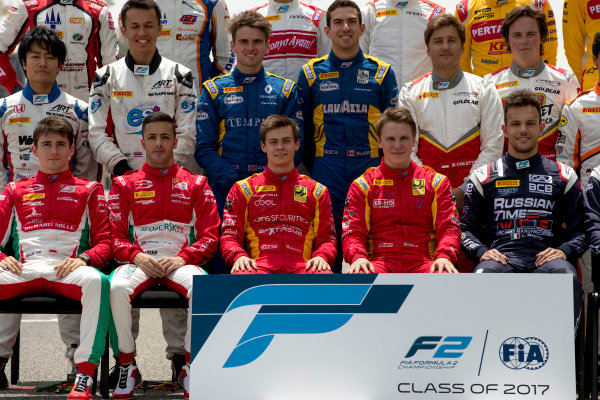 2017 FIA Formula 2 Round 1. Bahrain International Circuit, Sakhir, Bahrain.  Thursday 13 April 2017. Class photo on the grid. Photo: Zak Mauger/FIA Formula 2. ref: Digital Image _56I8913