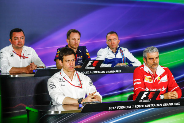 Albert Park, Melbourne, Australia. Friday 24 March 2017. Eric Boullier, Racing Director, McLaren, Toto Wolff, Executive Director (Business), Mercedes AMG, Christian Horner, Team Principal, Red Bull Racing, Paddy Lowe, Williams Martini Racing Formula 1, and Maurizio Arrivabene, Team Principal, Ferrari, in the Team Principals Press Conference. World Copyright: Sam Bloxham/LAT Images ref: Digital Image _J6I1830