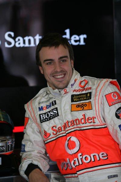 2007 British Grand Prix - Saturday QualifyingSilverstone, Northamptonshire, England.7th July 2007.Fernando Alonso, McLaren MP4-22 Mercedes. Portrait. World Copyright: Steven Tee/LAT Photographicref: Digital Image YY2Z5468