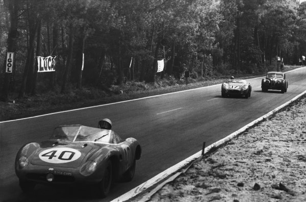 Le Mans, France. 28th - 29th July 1956 Gerard Laureau/Paul Armagnac (D B. HBR5 Panhard), 10th position, leads Louis Rosier/Jean Behra (Talbot Maserati), retired, action. World Copyright: LAT Photographic Ref: B/W Print.