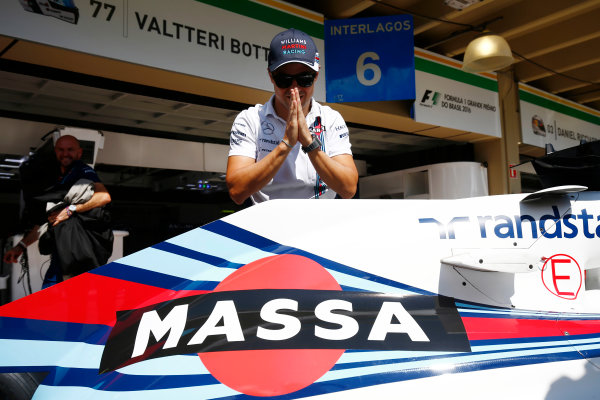 Interlagos, Sao Paulo, Brazil. Thursday 10 November 2016. Felipe Massa, Williams Martini Racing, unveils a new livery for his final home grand prix. World Copyright: Andrew Hone/LAT Photographic ref: Digital Image _ONY9859