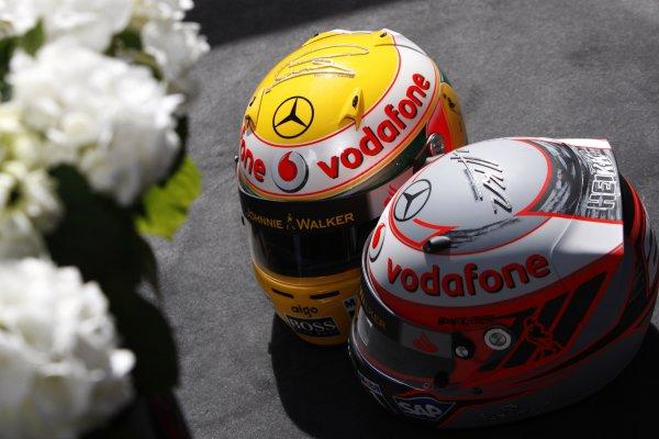 2008 Monaco Grand Prix - WednesdayMonte Carlo, Monaco.21st May 2008.Lewis Hamilton's and Heikki Kovalainen's crash helmets. With their Steinmetz diamond encrusted signature. World Copyright: Andrew Ferraro/LAT Photographic.ref: Digital Image _H0Y3004