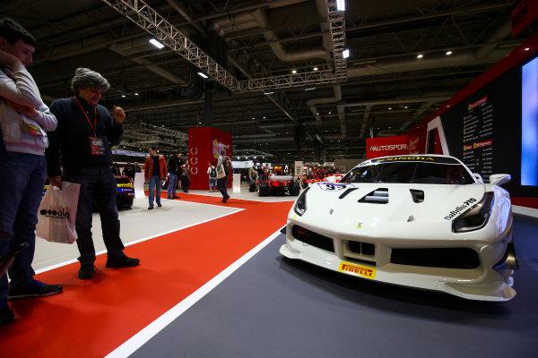 Autosport International Exhibition. National Exhibition Centre, Birmingham, UK. Sunday 14th January 2018. A Ferrari 488 on the Ferrari display.World Copyright: Mike Hoyer/JEP/LAT Images Ref: AQ2Y0187
