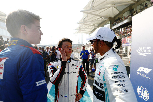 F2 champion Nyck De Vries (NLD, ART GRAND PRIX), F1 champion Lewis Hamilton, Mercedes AMG F1, and F3 champion Robert Shwartzman (RUS) PREMA Racing