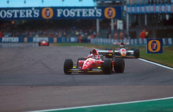 1993 British Grand Prix.Silverstone, England.9-11 July 1993.Jean Alesi (Ferrari F93A) 9th position at Copse. Ref-93 GB 22.World Copyright - LAT Photographic