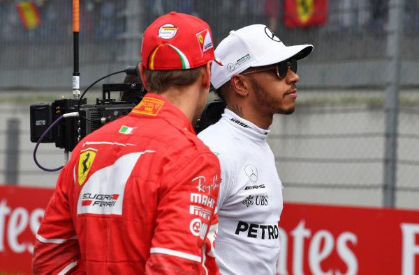 Lewis Hamilton (GBR) Mercedes AMG F1 and Sebastian Vettel (GER) Ferrari after Qualifying at Formula One World Championship, Rd9, Austrian Grand Prix, Qualifying, Spielberg, Austria, Saturday 8 July 2017.