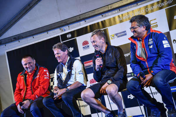 Yves Matton (FRA) Citroen Team Principal, Malcolm Wilson (GBR) M-Sport Boss and Michel Nandan (MON) Hyundai WRC Team Boss at World Rally Championship, Rd13, Rally Australia, Day Three, Coffs Harbour, New South Wales, Australia, 19 November 2017.