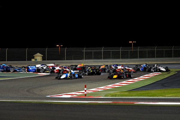 Lirim Zendeli (DEU, MP Motorsport), leads Juri Vips (EST, Hitech Grand Prix), as Dan Ticktum (GBR, Carlin)spins on the opening lap
