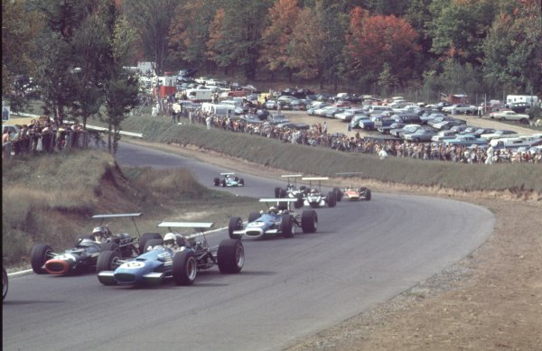 1968 Canadian Grand Prix.Mont-Tremblant, (St. Jovite), Quebec, Canada.20-22 September 1968.Johnny Servoz-Gavin (Matra MS10-Ford) leads Piers Courage (BRM P126), Jean-Pierre Beltoise (Matra MS11), Lucien Bianchi (Cooper T86B BRM), Bill Brack (Lotus 49B-Ford) and Vic Elford (Cooper T86B BRM).Ref-68 CAN 24.World Copyright - LAT Photographic