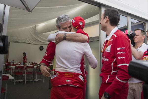 Maurizio Arrivabene (ITA) Ferrari Team Principal celebrates with race winner Sebastian Vettel (GER) Ferrari and Riccardo Adami (ITA) Ferrari Race Engineer at Formula One World Championship, Rd1, Australian Grand Prix, Race, Albert Park, Melbourne, Australia, Sunday 26 March 2017.