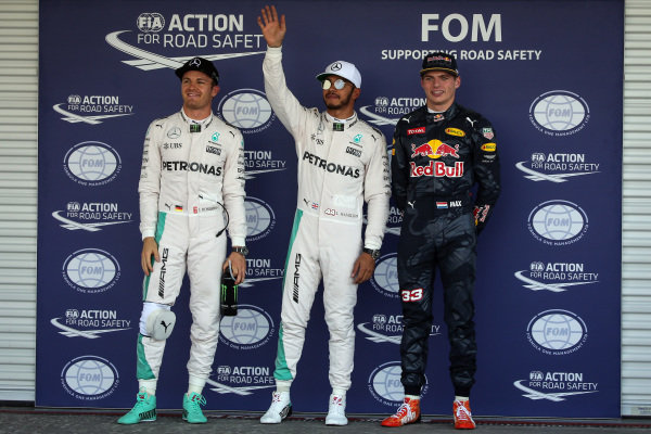 Nico Rosberg (GER) Mercedes AMG F1, pole sitter Lewis Hamilton (GBR) Mercedes AMG F1 and Max Verstappen (NED) Red Bull Racing celebrate in parc ferme at Formula One World Championship, Rd19, Mexican Grand Prix, Qualifying, Circuit Hermanos Rodriguez, Mexico City, Mexico, Saturday 29 October 2016.