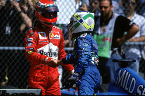 1999 Canadian Grand Prix.Montreal, Quebec, Canada.11-13 June 1999.Giancarlo Fisichella (Benetton Playlife) and Eddie Irvine (Ferrari). They finished in 2nd and 3rd positions respectively.Ref-99 CAN 07.World Copyright - LAT Photographic