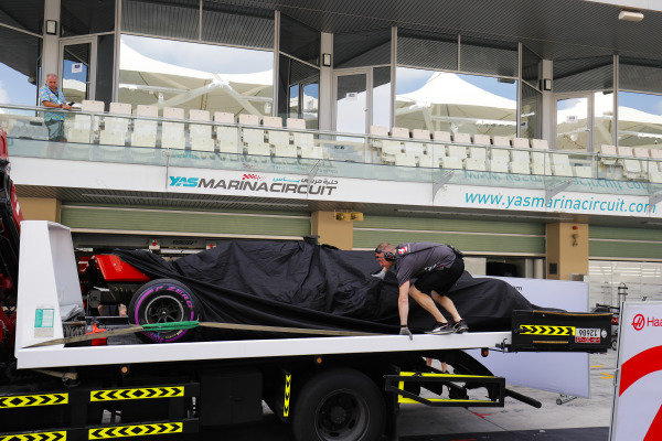 The Pietro Fittipaldi Haas F1 Team VF-18 Ferrari, is returned to the pits on a truck.