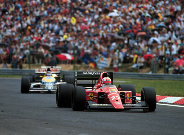 1989 Hungarian Grand Prix.Hungaroring, Budapest, Hungary.11-13 August 1989.Nigel Mansell (Ferrari 640) leads Thierry Boutsen (Williams FW12C Renault). They finished in 1st and 2nd positions respectively.World Copyright - LAT Photographic