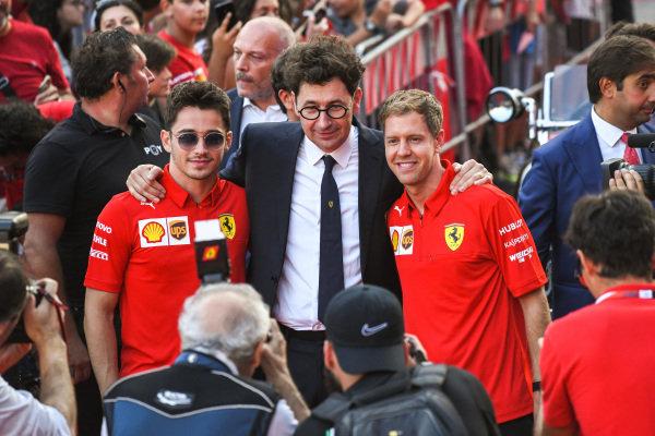 Charles Leclerc, Ferrari, Mattia Binotto, and Sebastian Vettel, Ferrari