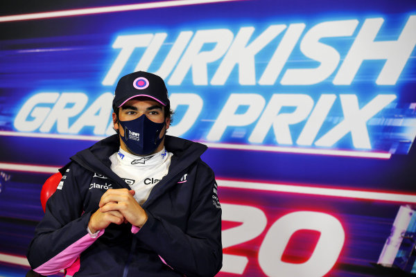 Pole man Lance Stroll, Racing Point, in the post Qualifying Press Conference