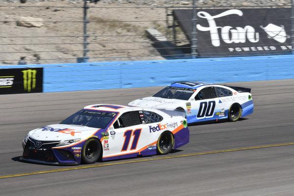 #11: Denny Hamlin, Joe Gibbs Racing, Toyota Camry FedEx Freight, #00: Landon Cassill, Manscaped Racing, Chevrolet Camaro Iron Mountain Data Centers