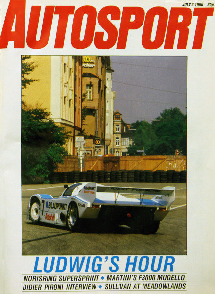 Cover of Autosport magazine, 3rd July 1986