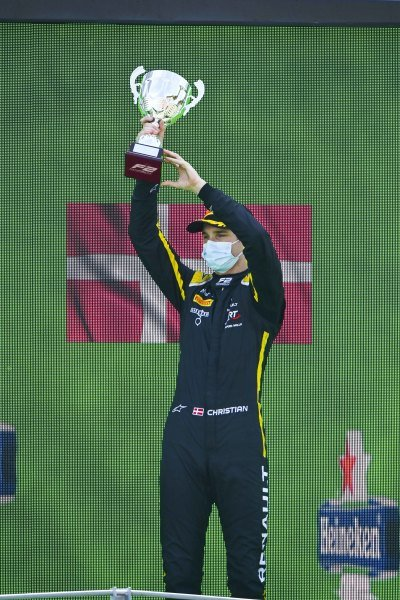 Christian Lundgaard (DNK, ART GRAND PRIX) on the podium with the trophy