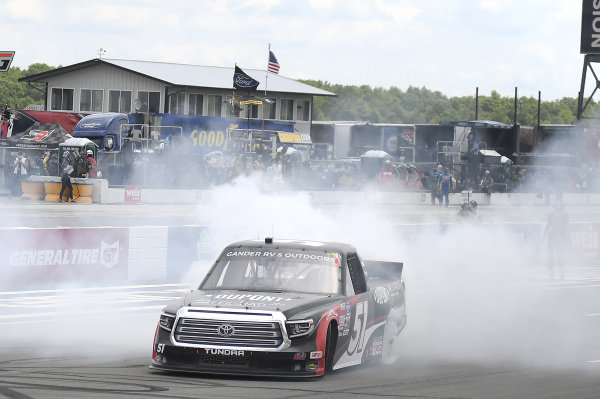 #51: Brandon Jones, Kyle Busch Motorsports, Toyota Tundra DuPont Air Filtration/Menards, celebrates after winning in Pocono.