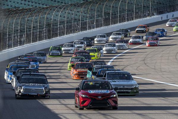 Toyota Camry TRD Pace Car leads pole sitter #18: Christian Eckes, Kyle Busch Motorsports, Safelite AutoGlass Toyota Tundra