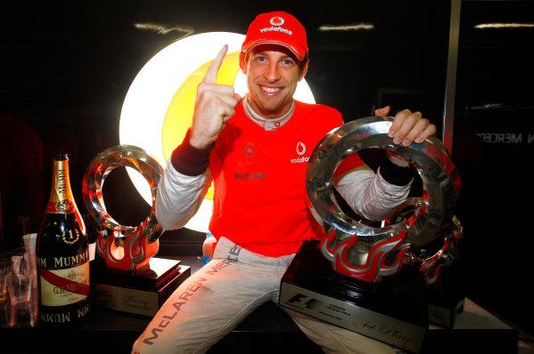 Shanghai International Circuit, Shanghai, China 18th April 2010 Jenson Button, McLaren MP4-25 Mercedes, 1st position, celebrates victory. Portrait.  World Copyright: Steven Tee/LAT Photographic ref: Digital Image _I4V1563