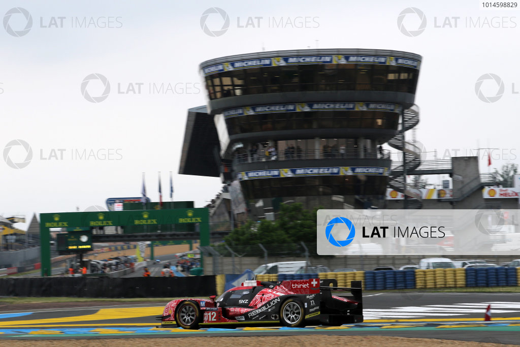 2016 Le Mans 24 Hours Test day, Le Mans, France. 5th June 2016. Nicolas Prost / Nelson Piquet Jnr / Nick Heidfeld - Rebellion Racing Rebellion R-One AER. World Copyright: Ebrey / LAT Photographic.