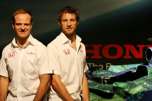 Rubens Barrichello (BRA) Honda Racing F1 Team and Jenson Button (GBR) Honda Racing F1 Team  Honda RA107 Launch, 26 February 2007. Natural History Museum, London, UK. DIGITAL IMAGE
