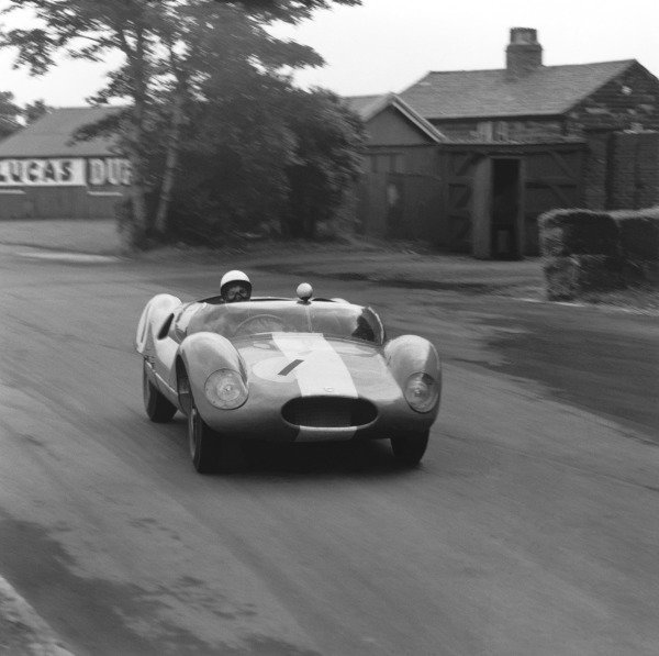 Aintree, Great Britain. 18th July 1959.Stirling Moss (Cooper-Monaco), retired, support race to the Grand Prix, action. World Copyright: LAT Photographic.Ref: 4556.