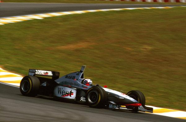 Interlagos, Brazil.28-30 March 1997.David Coulthard (McLaren MP4/12 Mercedes) 10th position.Ref-97 BRA 13.World Copyright - LAT Photographic