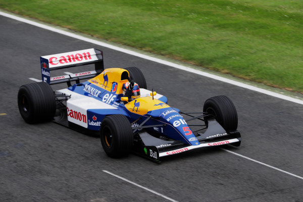 Williams 40 Event Silverstone, Northants, UK Friday 2 June 2017. Karun Chandhok demonstrates a Williams FW14 Renault. World Copyright: Zak Mauger/LAT Images ref: Digital Image _54I1982