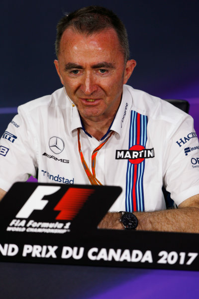 Circuit Gilles Villeneuve, Montreal, Canada. Friday 09 June 2017. Paddy Lowe, Chief Technical Officer, Williams Martini Racing Formula 1, in the Team Principals Press Conference. World Copyright: Andy Hone/LAT Images ref: Digital Image _ONZ0696