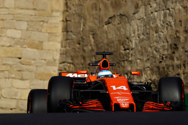 Baku City Circuit, Baku, Azerbaijan. Friday 23 June 2017. Fernando Alonso, McLaren MCL32 Honda.  World Copyright: Steven Tee/LAT Images ref: Digital Image _O3I1246