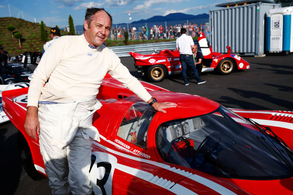 Red Bull Ring, Spielberg, Austria. Saturday 08 July 2017. Gerhard Berger poses with a 1970 Porsche 917. World Copyright: Andy Hone/LAT Images ref: Digital Image _ONY1960