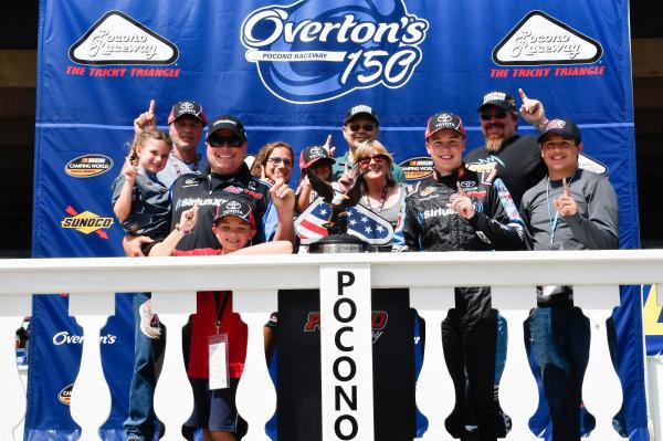 NASCAR Camping World Truck Series Overton's 150 Pocono Raceway, Long Pond, PA USA Saturday 29 July 2017 Christopher Bell, SiriusXM Toyota Tundra, celebrates in victory lane. World Copyright: John K Harrelson LAT Images