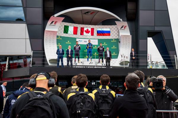 2017 FIA Formula 2 Round 6. Silverstone, Northamptonshire, UK. Sunday 16 July 2017. Luca Ghiotto (ITA, RUSSIAN TIME), Nicholas Latifi (CAN, DAMS) and Artem Markelov (RUS, RUSSIAN TIME).  Photo: Zak Mauger/FIA Formula 2. ref: Digital Image _54I5969 2