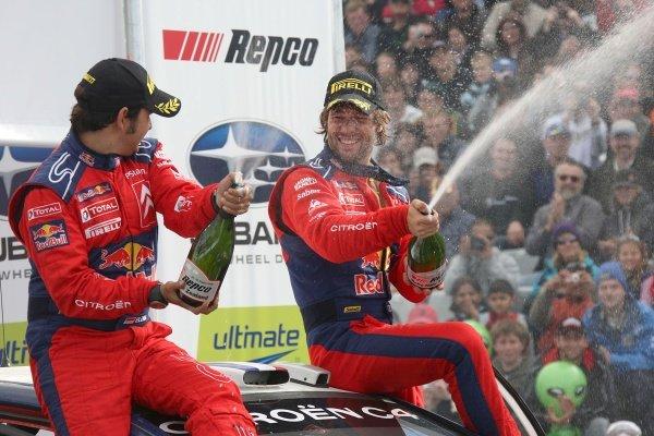 R-L: Sebastien Loeb (FRA) and co-driver Daniel Elena (MON), Citroen, spray champagne in victory.FIA World Rally Championship, Rd11, Repco Rally New Zealand, Day Three, Sunday 31 August 2008.