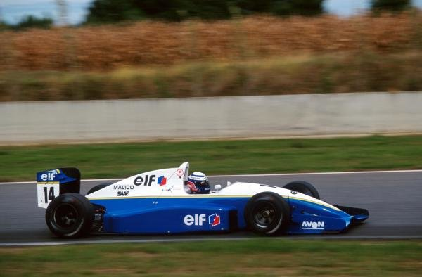 Olivier Panis (FRA) DAMS Reynard 93D Cosworth AC was punted off the track into retirement but still claimed the championship by one point.International Formula 3000 Championship, Nogaro, France, 10 October 1993.