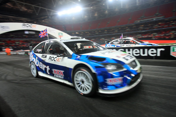 Wembley Stadium, London.  14th December 2008. Start of the race between Andy Priaulx and Jason Plato in Ford Focus WRC 08. Action. World Copyright: Jed Leicester/LAT Photographic ref: Digital Image JED_0520