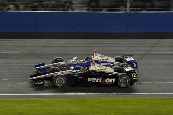 Will Power (AUS) Team Penkse (#12) and Helio Castroneves (BRA) Team Penske (#3).Verizon IndyCar Series, Rd18, MAVTV 500, Auto Club Speedway, Fontana, USA, 29-30 August 2014.