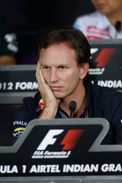 2012 Indian Grand Prix - Friday Buddh International Circuit, New Delhi, India. 26th October 2012. Christian Horner, Team Principal, Red Bull Racing, in the Press Conference.  World Copyright:Andrew Ferraro/LAT Photographic ref: Digital Image _79P8492