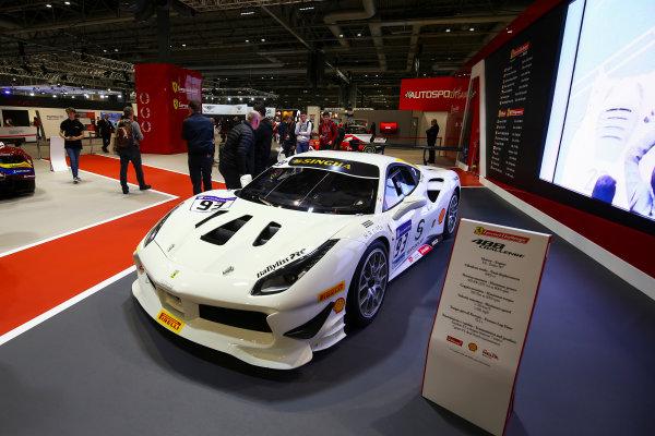 Autosport International Exhibition. National Exhibition Centre, Birmingham, UK. Sunday 14th January 2018. The Ferrari 488 display.World Copyright: Mike Hoyer/JEP/LAT Images Ref: AQ2Y0179