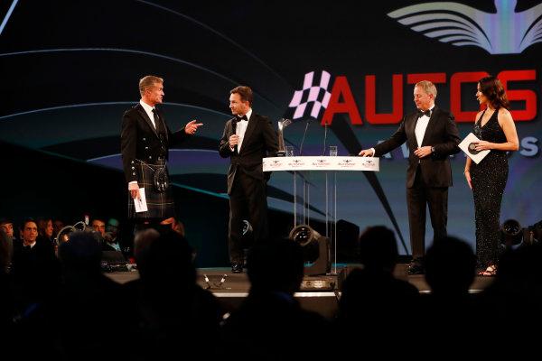 2017 Autosport Awards Grosvenor House Hotel, Park Lane, London. Sunday 3 December 2017. David Coulthard, Christian Horner, Martin Brundle and Lee McKenzie. World Copyright: Zak Mauger/LAT Images Ref: Digital Image _o3i6577