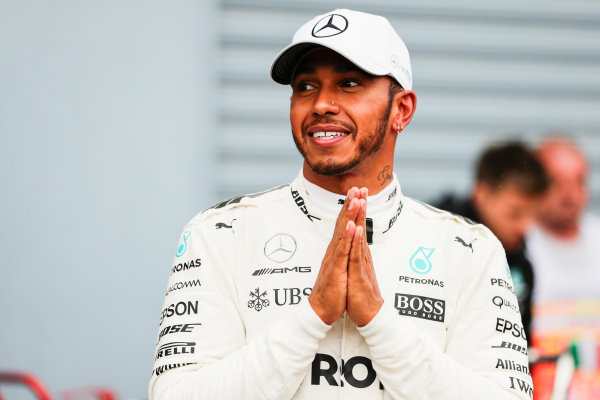 Autodromo Nazionale di Monza, Italy. Saturday 02 September 2017. Lewis Hamilton, Mercedes AMG, after securing a record breaking 69th pole position. World Copyright: Zak Mauger/LAT Images  ref: Digital Image _56I7722
